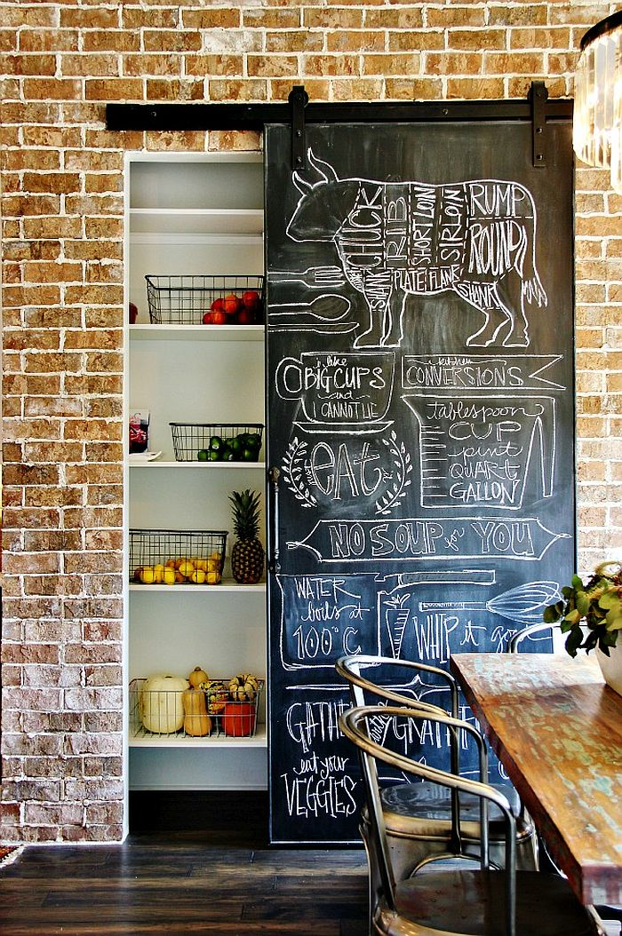Sliding chalkboard wall for the kitchen pantry surely adds a great farmhouse chic touch