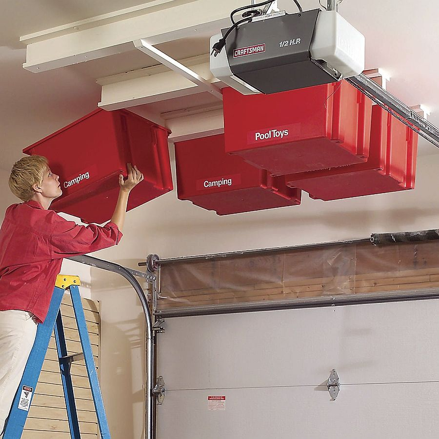 Sliding storage system for the garage ceiling