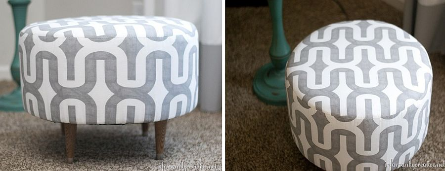 Small ottoman made from electric spool