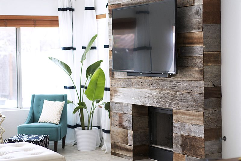 Smart DIY reclaimed wood fireplace