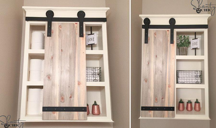 Smart DIY sliding barn door for the bathroom medicine cabinet