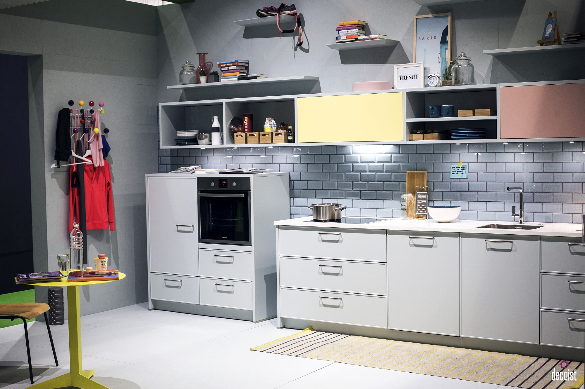 Smart bluish-gray and white kitchen feels relaxing and charming