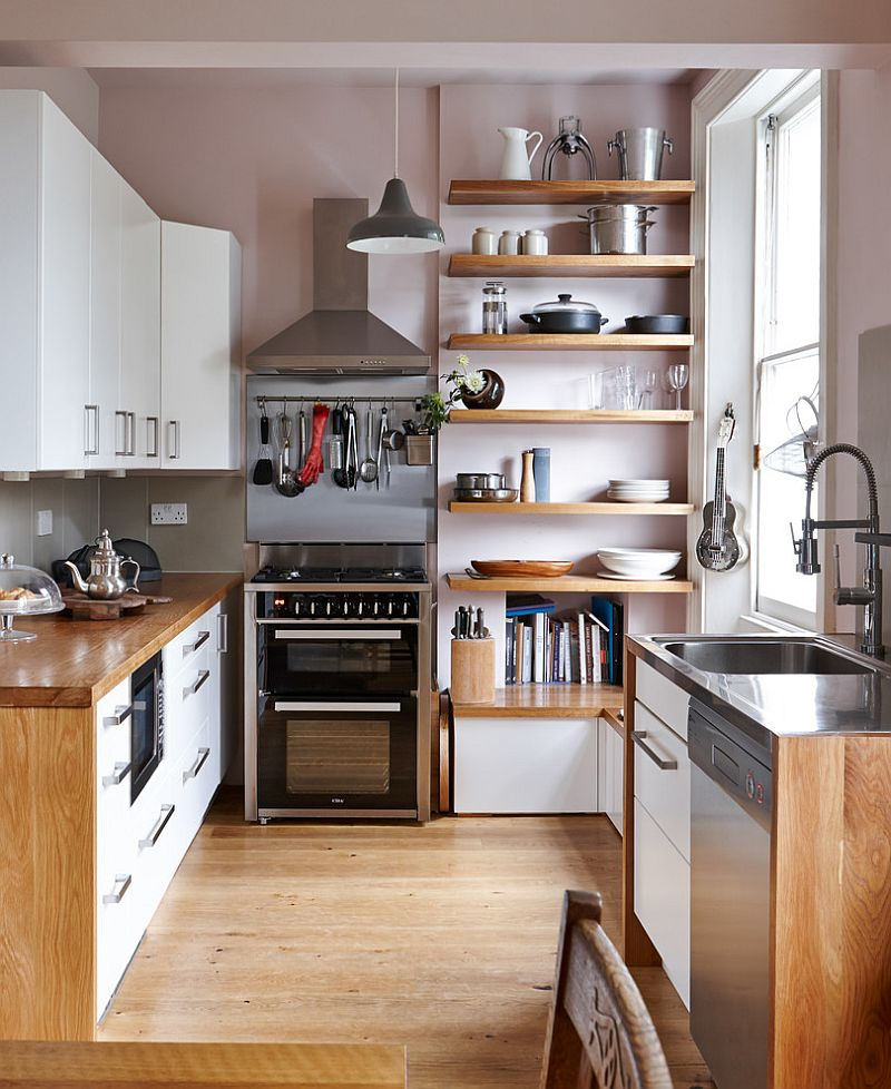 Smart shelves in the corner make the most of vertical room on offer