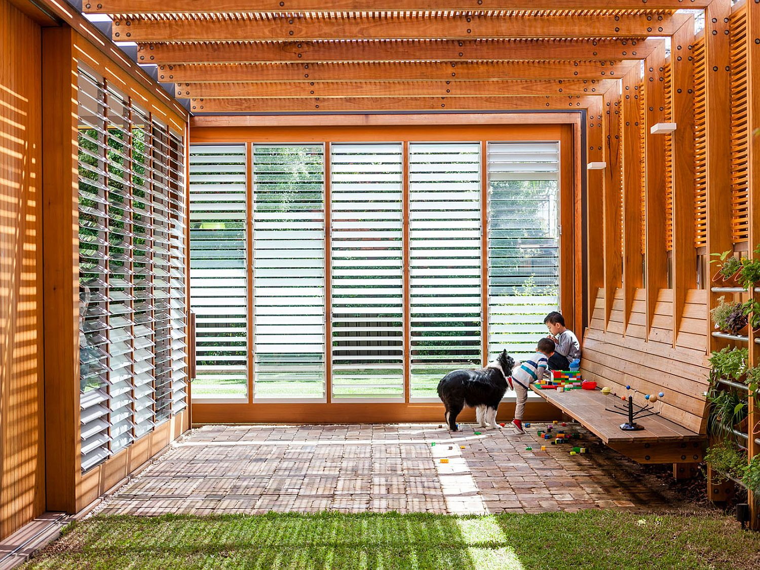 Smart use of translucent and normal glass sliding doors brings in plenty of natural light
