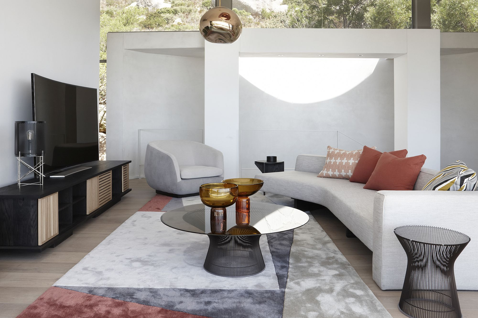 Social zone inside the house has an open, outdoorsy vibe
