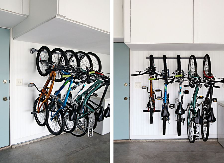 Space-savvy bike rack in the garage with a monkey bar and some cool labels!