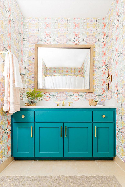 Striking-and-fun-way-to-add-teal-using-the-bathroom-vanity