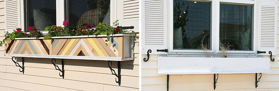 Striking chevron pattern DIY flower box planters grab attention easily
