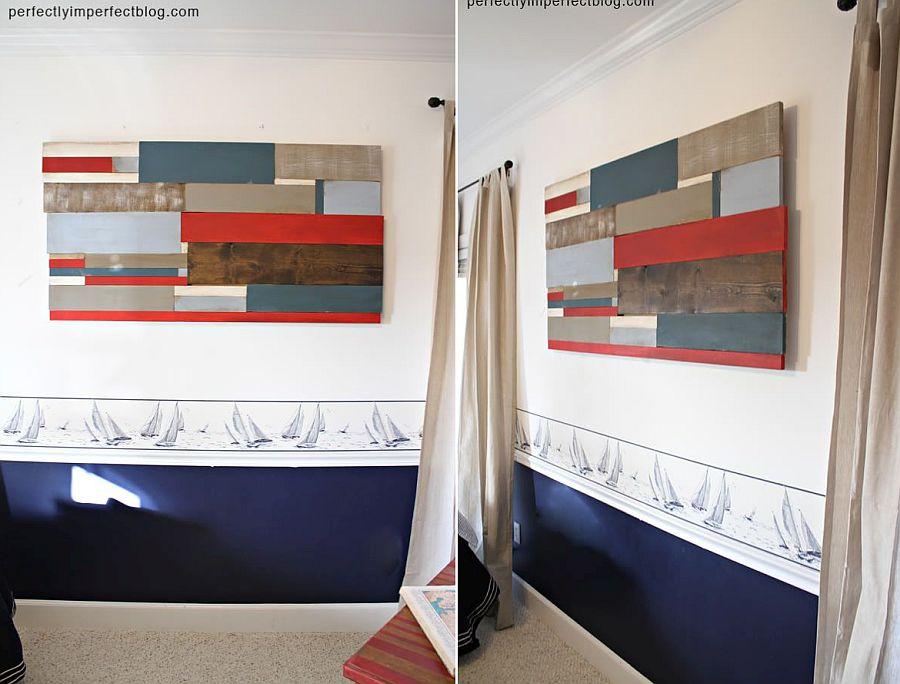 Striking reclaimed wood wall art idea