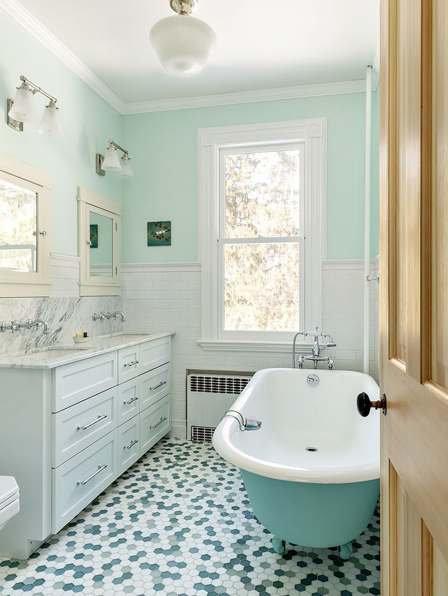 Try-out-different-shades-of-green-in-the-bathroom-with-white-backdrop