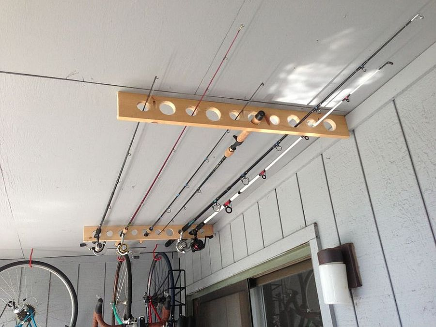 Turn to the ceiling to store the fishing poles in the garage