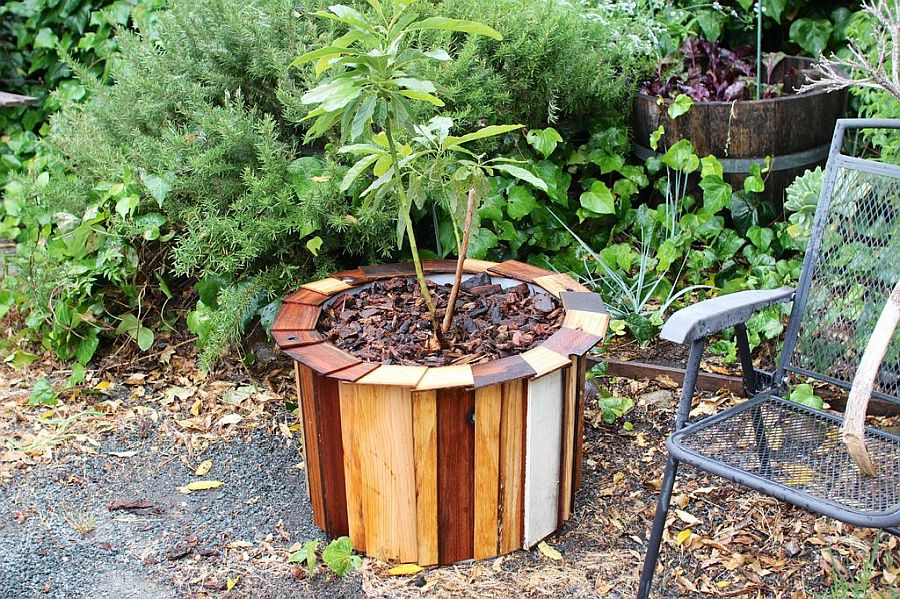Turning an old drum and wood pieces into a smart planter