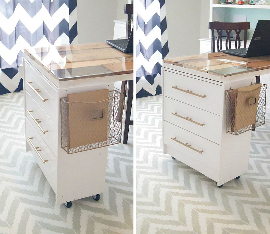 Unique-crafting-table-with-basket-attached-to-it