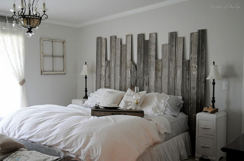 Unique take on the DIY wooden headboard made from reclaimed wood