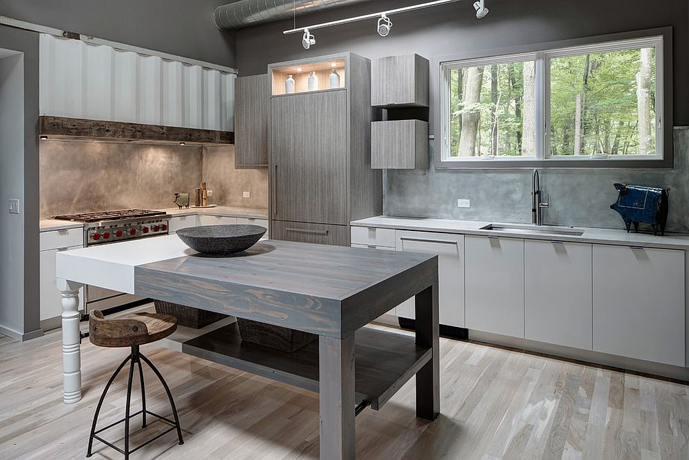 Unpolished and textured gray walls for the moden industrial kitchen
