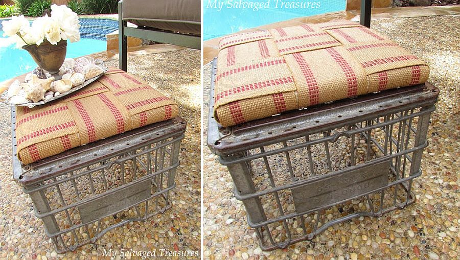 Upcycled old milk crate ottoman is super-easy to create