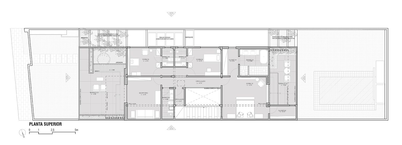 Upper level floor plan of Guaratinguetá House