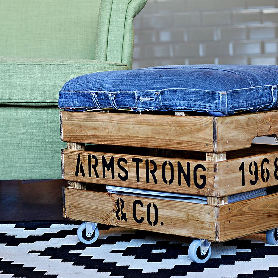 Upycyled DIY Ottoman with denim cover adds style while cutting down costs!