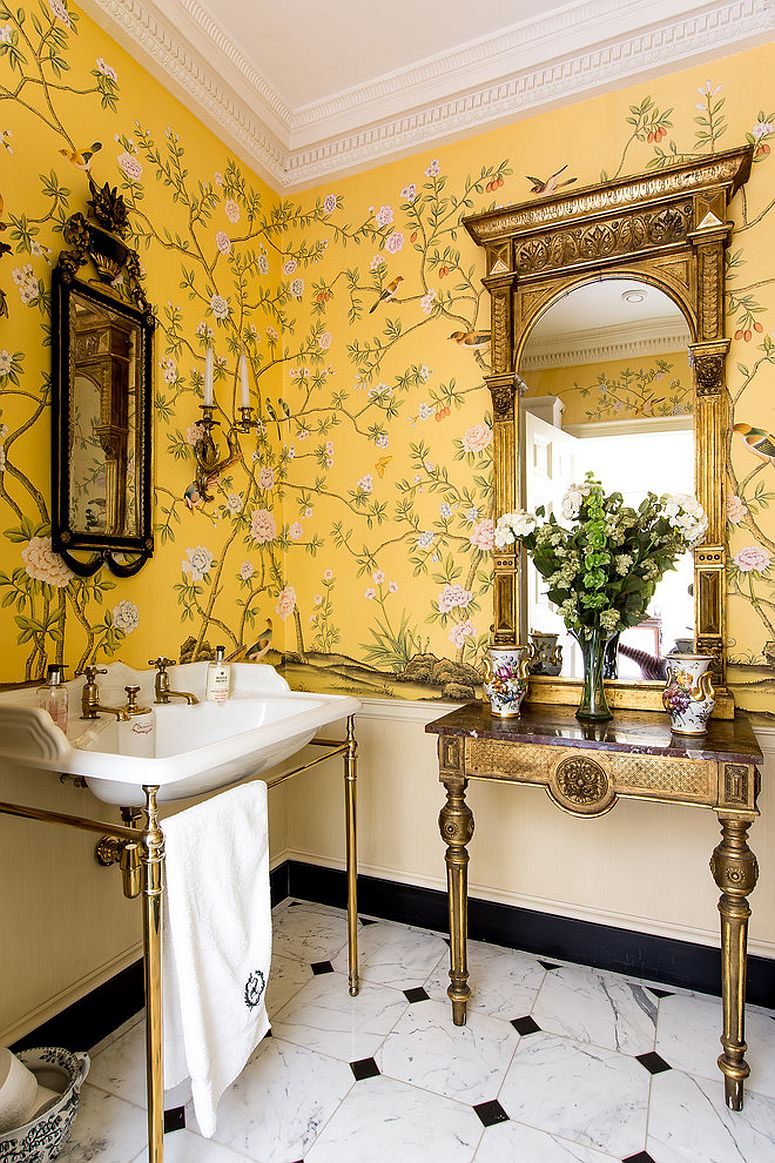 Use-of-yellow-in-the-chic-country-style-bathroom