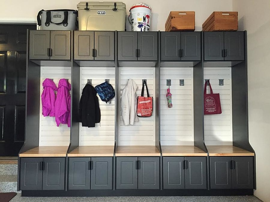Use the garage also as your mudroom with smart shelving