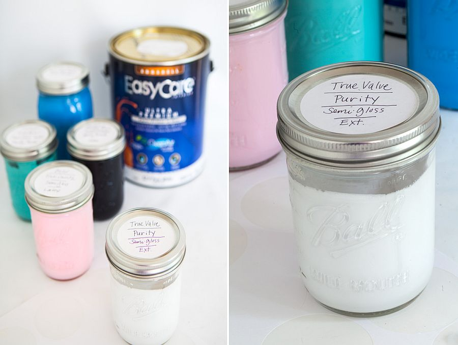 Using mason jars to store extra paint in the garage