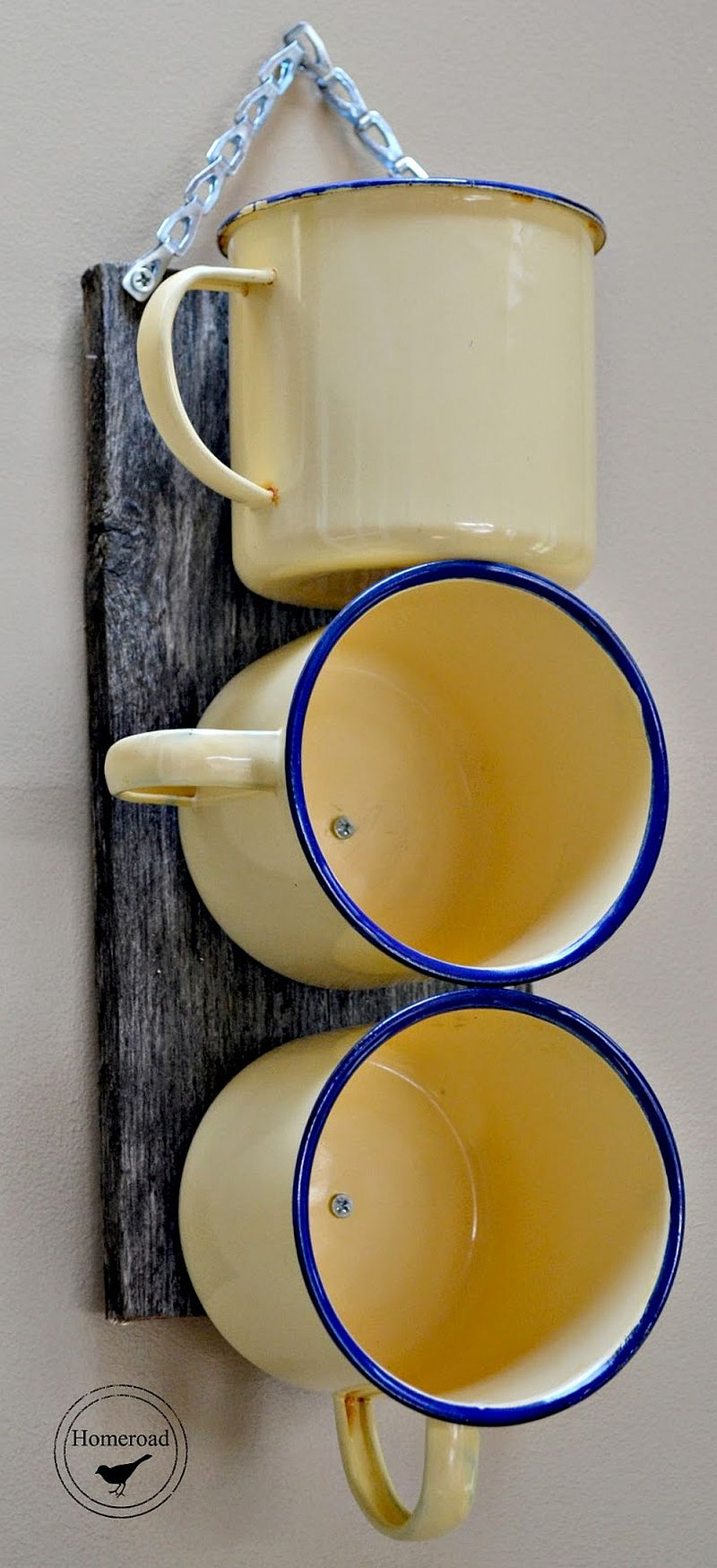 Wall-mounted DIY enamel mug organizer works in more ways than one!