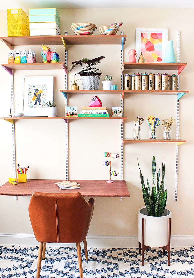 Wall-mounted shelves and simple desk for the avid crafter with limited space