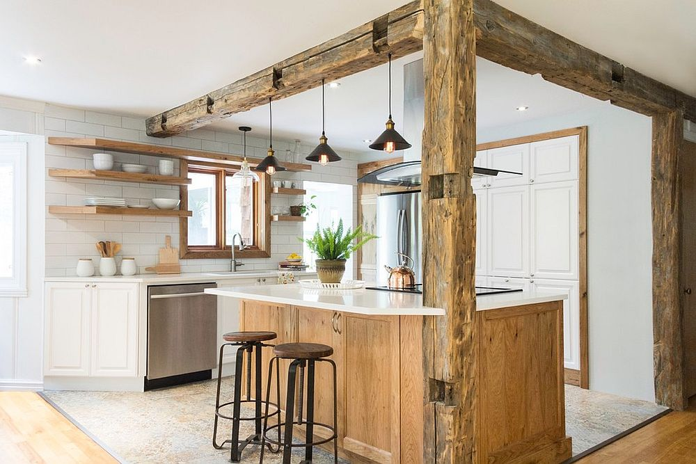 Weathered wooden finishes have a charm of their own in the white kitchen