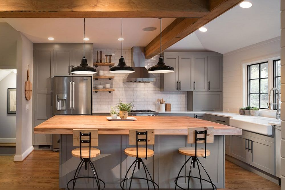 Wood-countertop-for-the-striking-kitchen-in-gray-and-white