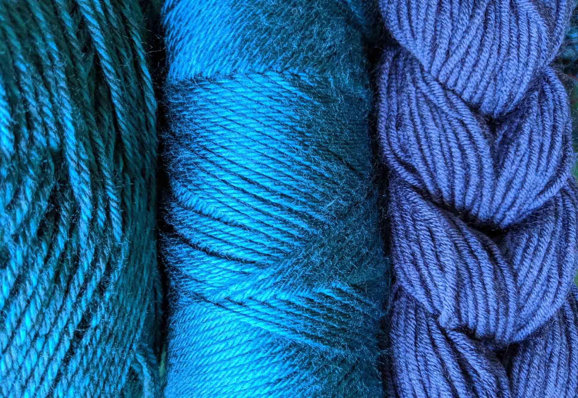 Yarn in shades of blue