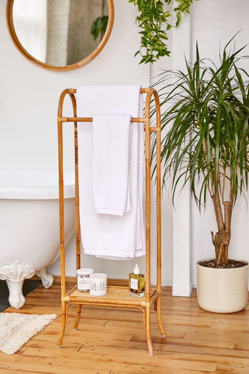 Bamboo and rattan towel rack