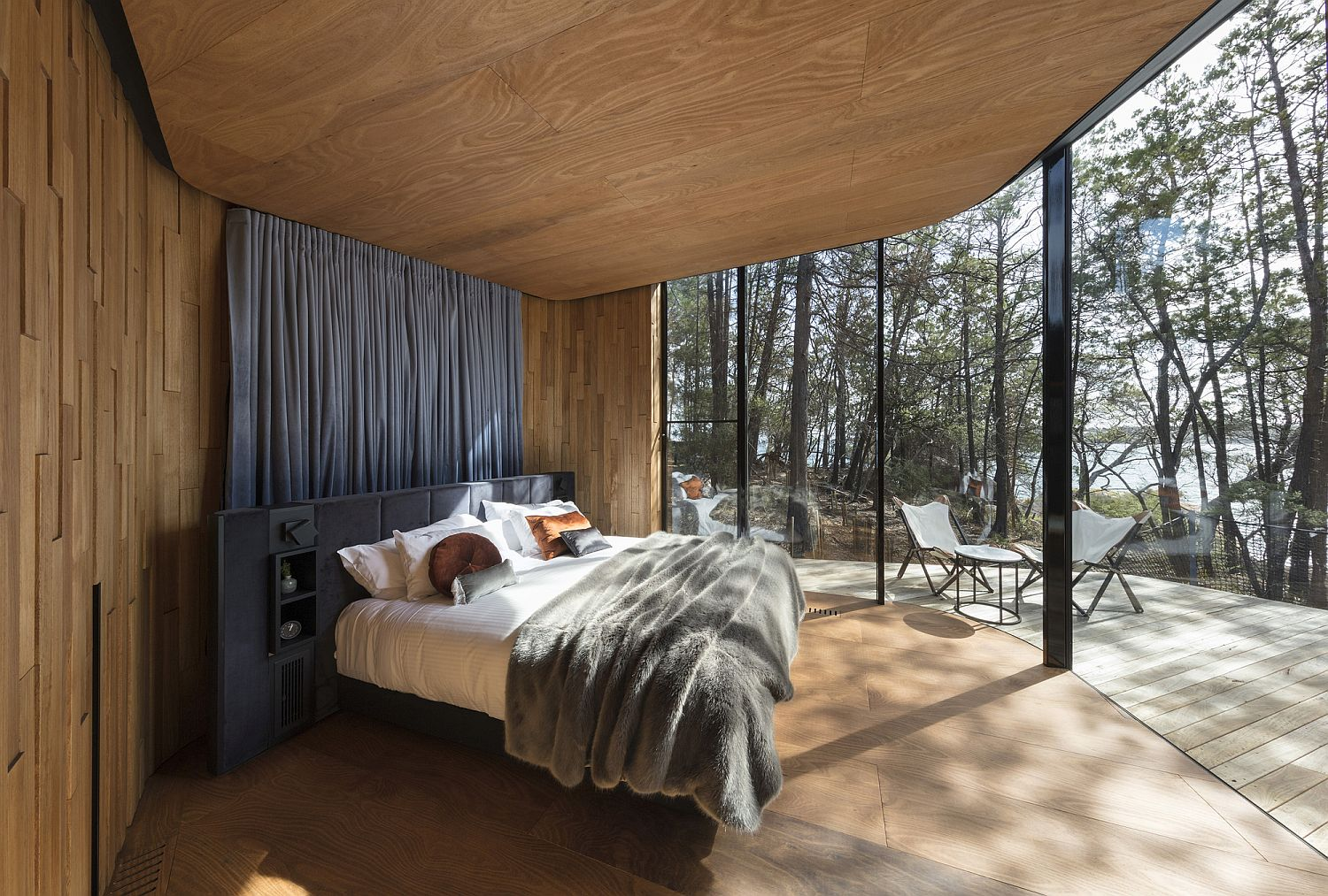 Bedrooms at the retreat connected with the outdoors