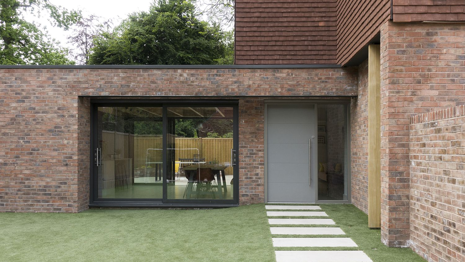 Brick and terracotta exterior of the London home