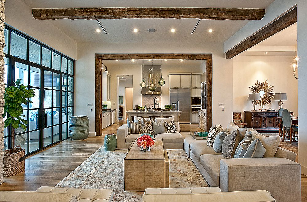 Coastal chic living room with natural wood ceiling beams
