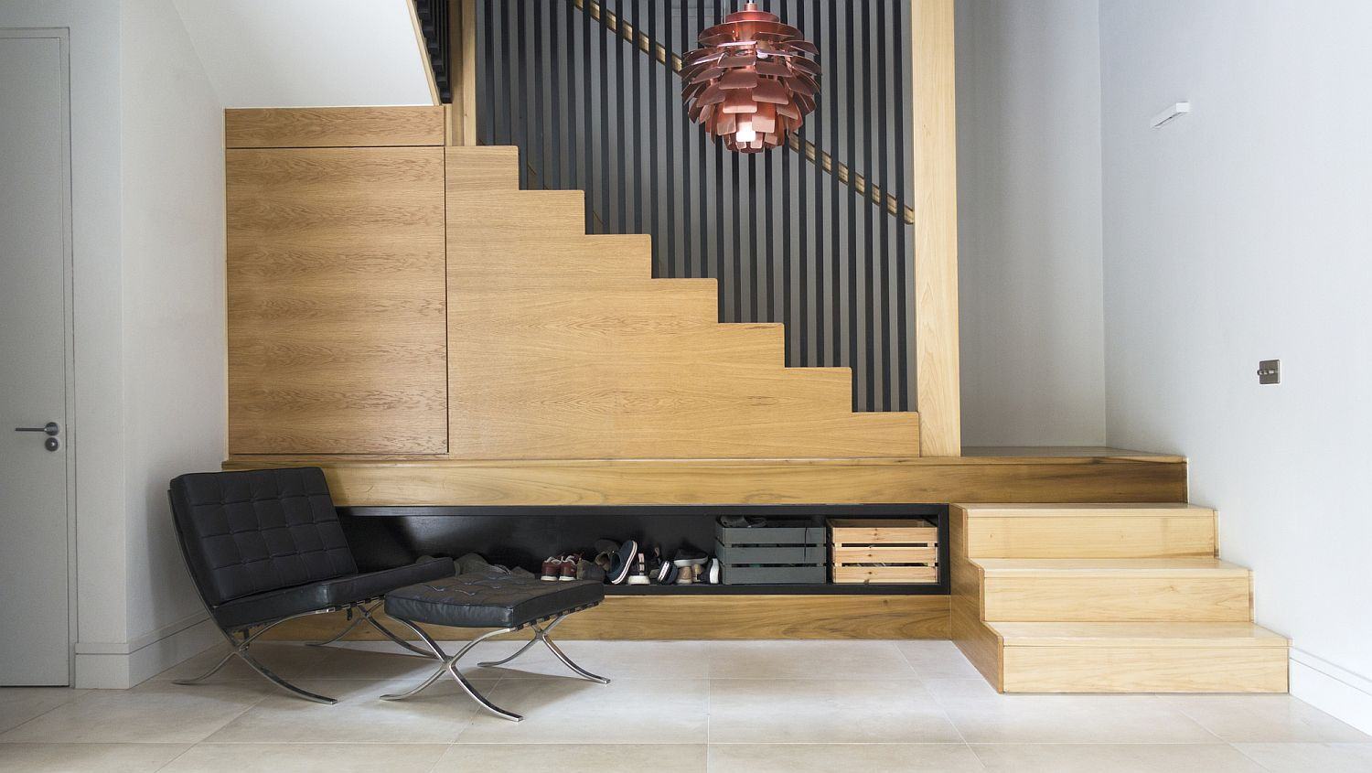 Contemporary interior of the London home with wood and white with a dash of accent gray panache