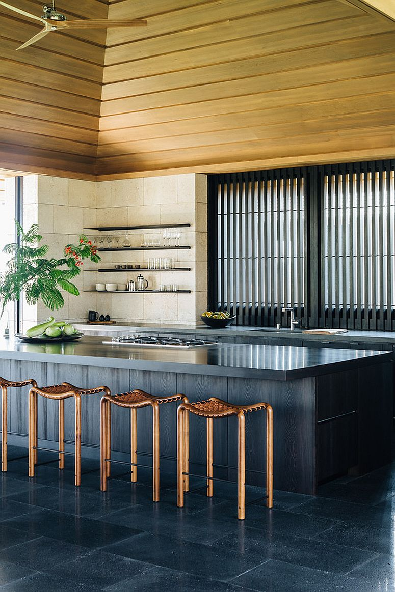 Contemporary take on the classic tropical style kitchen with urbane finishes