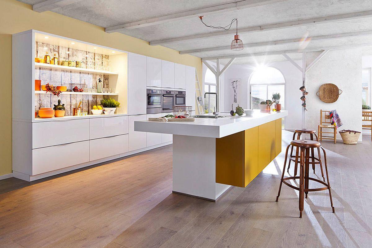 Creative way to use yellow in the modern modular kitchen