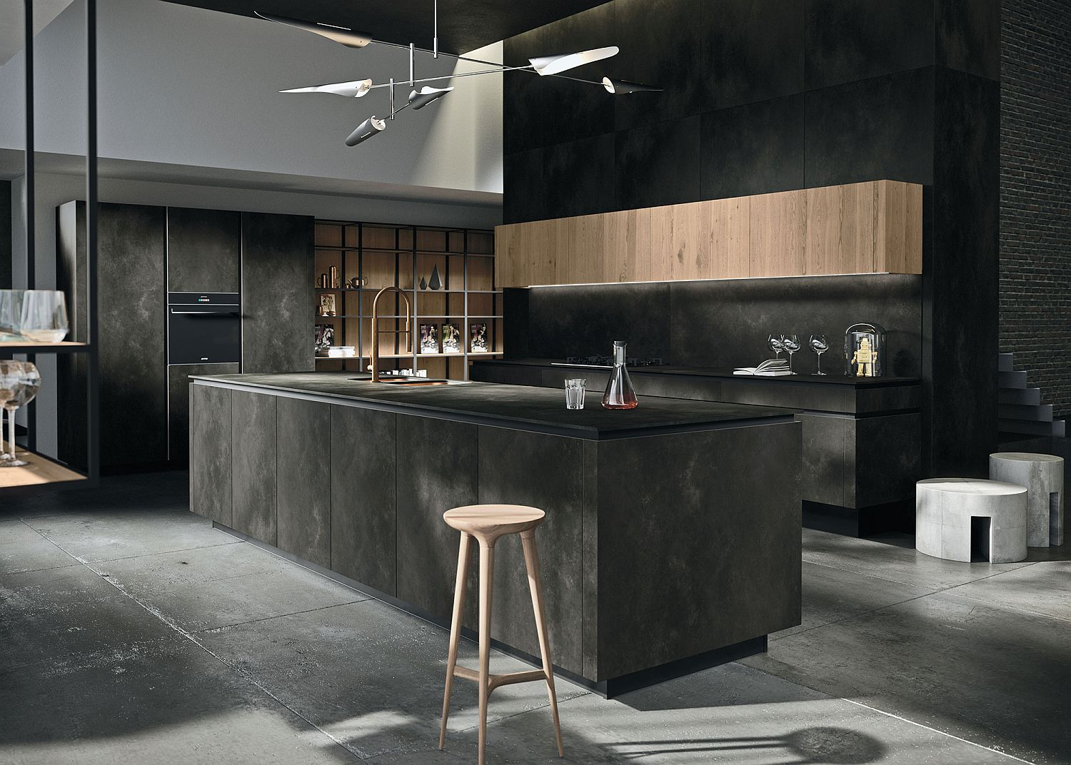 Dark-shades-in-the-kitchen-along-with-textural-beauty-with-smart-shelving