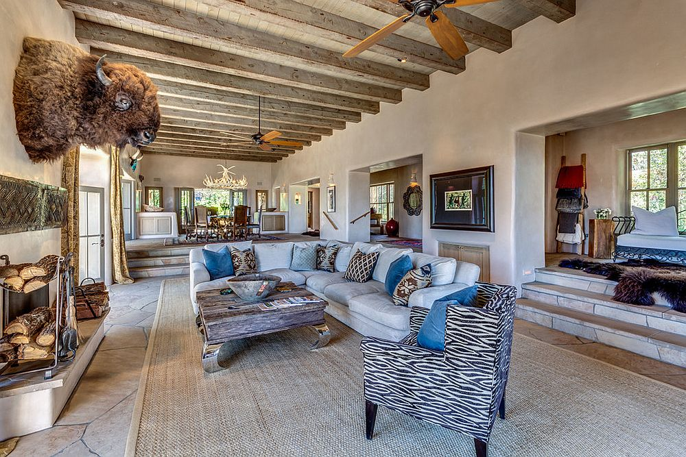 Expansive living room combines modernity with Southwestern style design