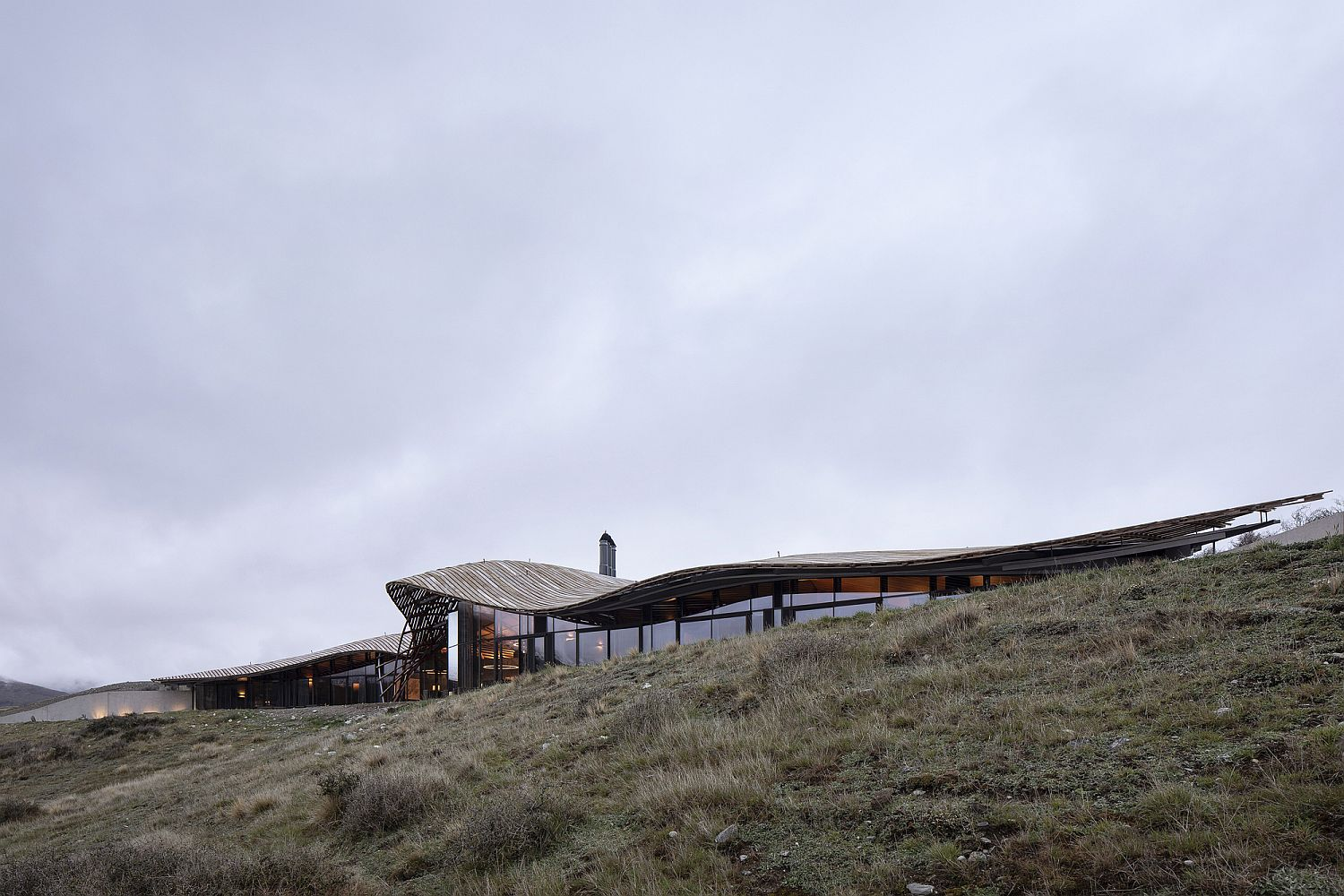 Fabulous complex gridshell roof of the stunning lodge in New Zealand