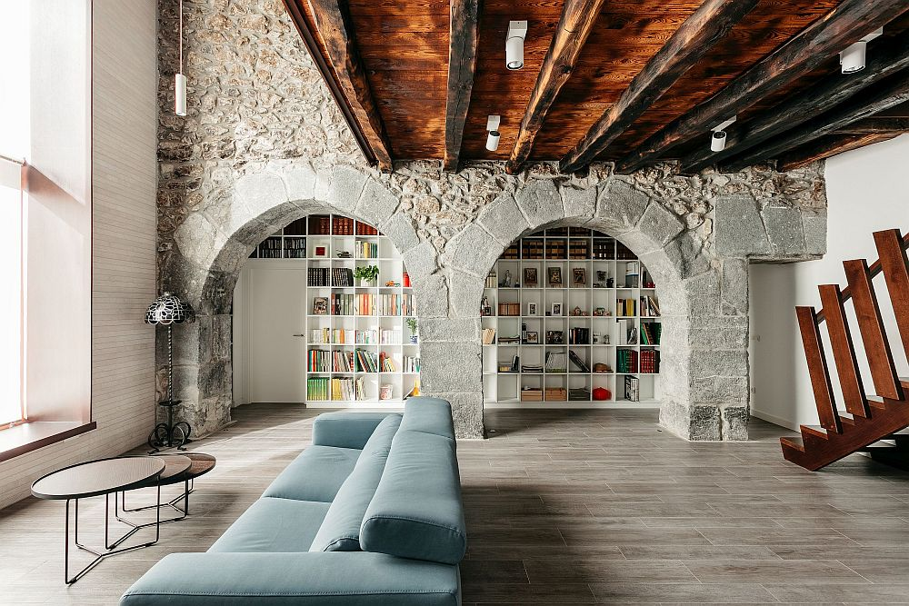 Fabulous refurbishment of 150-year old home in Spain with stone walls and ceiling beams