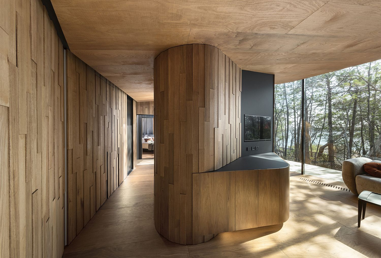 Fabulous use of locally sourced wood inside the stylish pavilions
