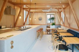Modern Japanese Café with a Cozy Residence Above Makes a Woodsy Impression