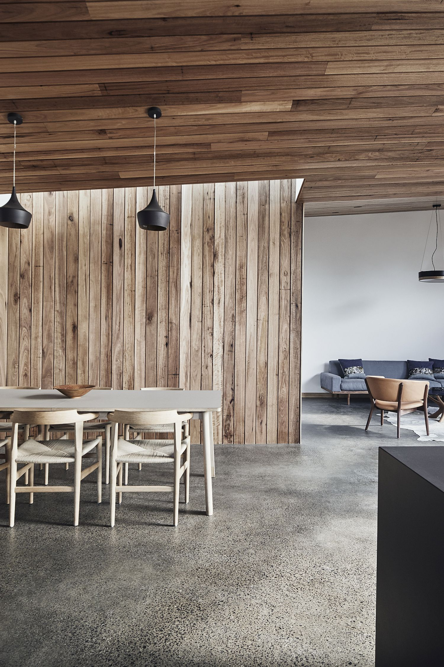 Floor and ceiling offer visual contrast to the interior