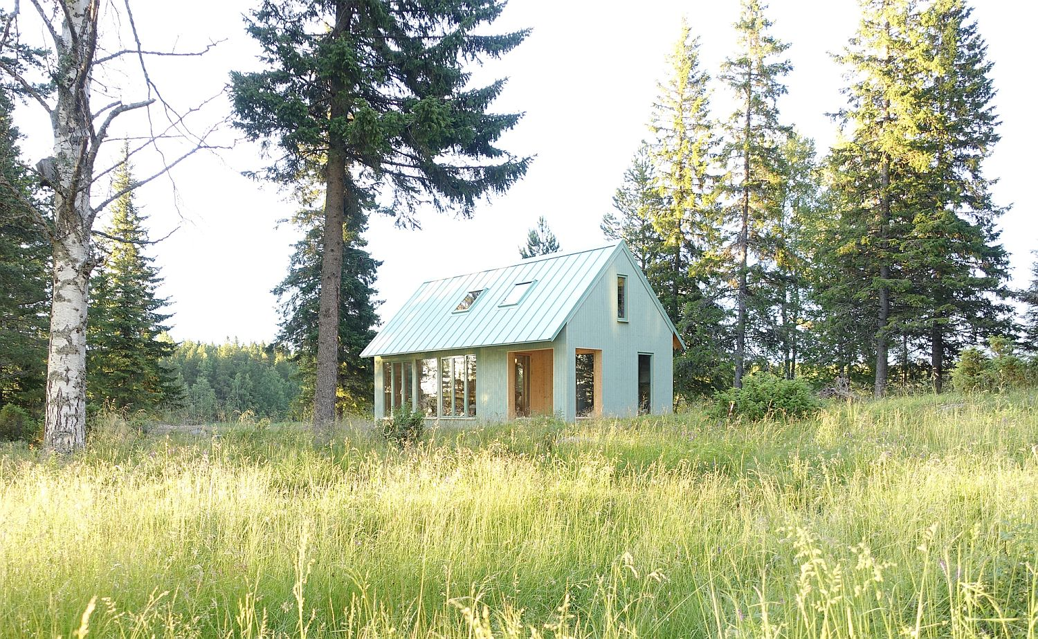 Tiny Light Green Wooden Summer Cottage in Sweden is an Efficient Showstopper