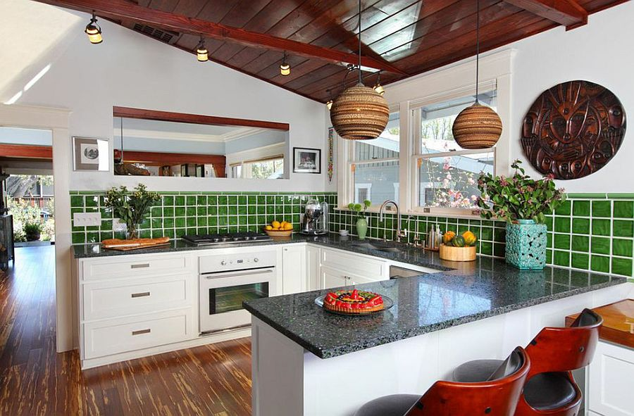 Green-tiled backsplash for the s,art tropical style kitchen in white and wood