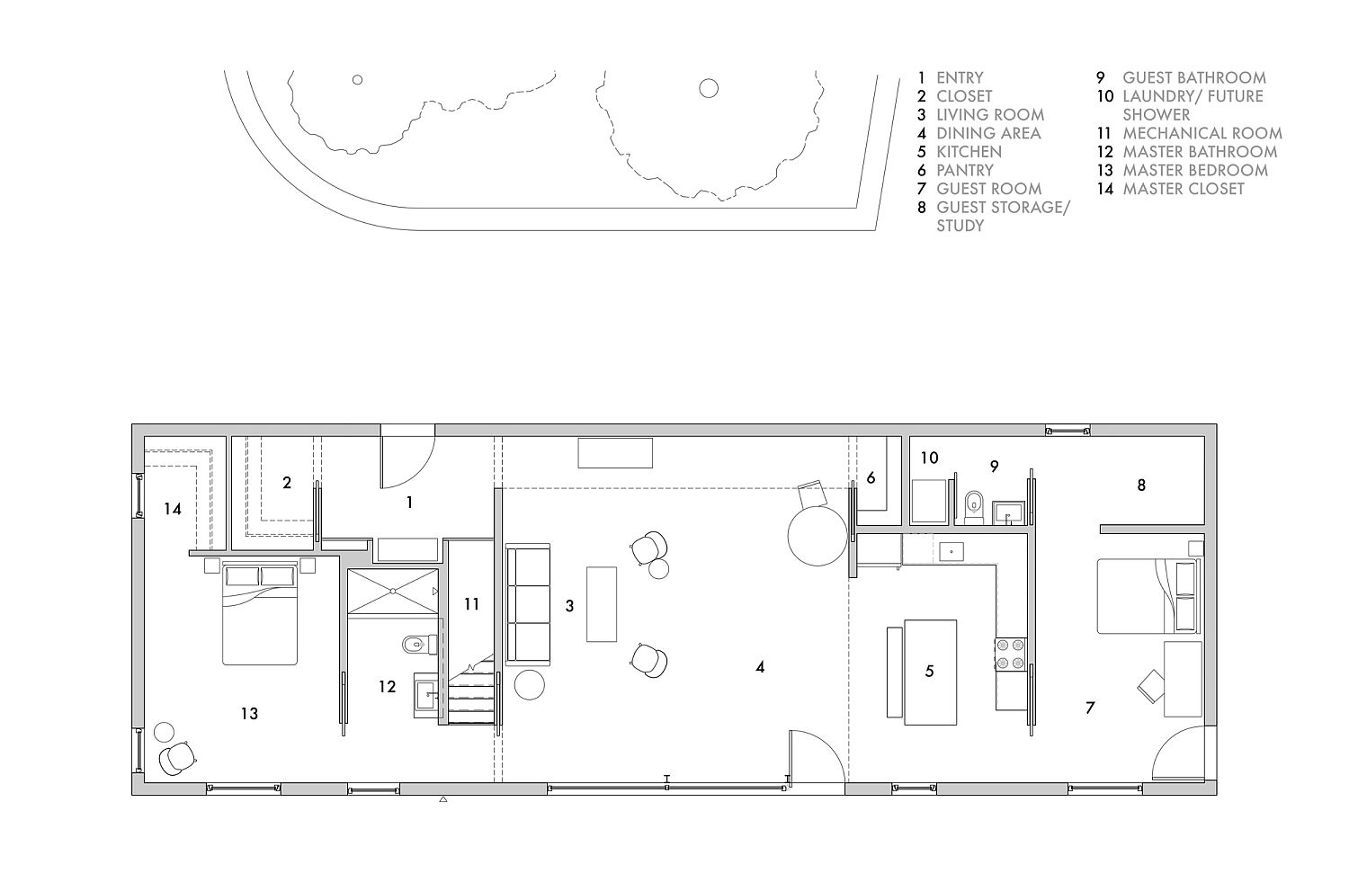 Ground level floor plan of the NY Passive House