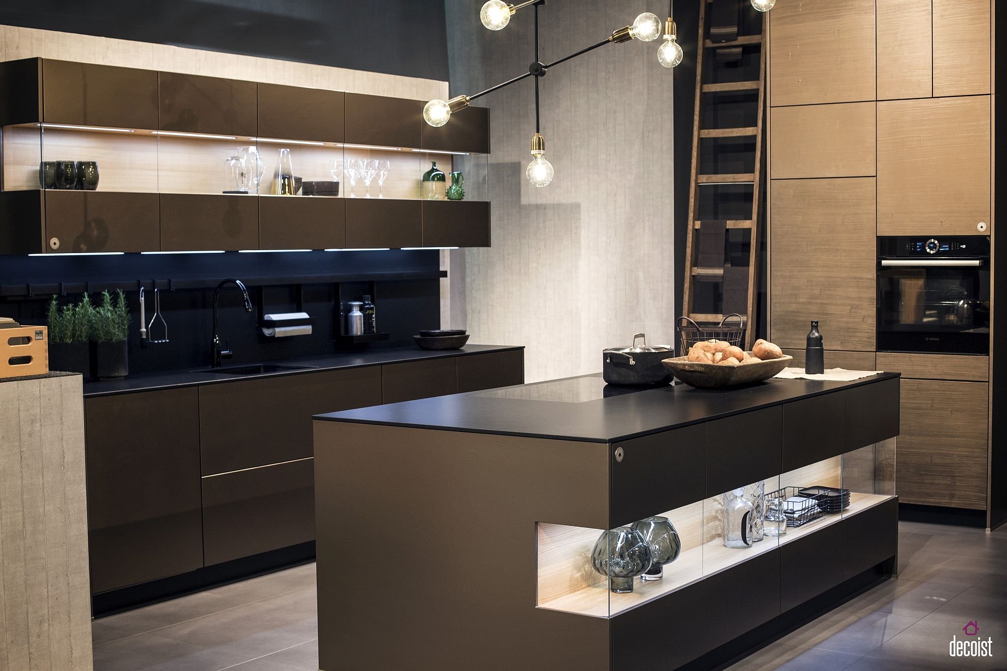 Illuminated open shelf in the island adds uniqueness to the kitchen in black