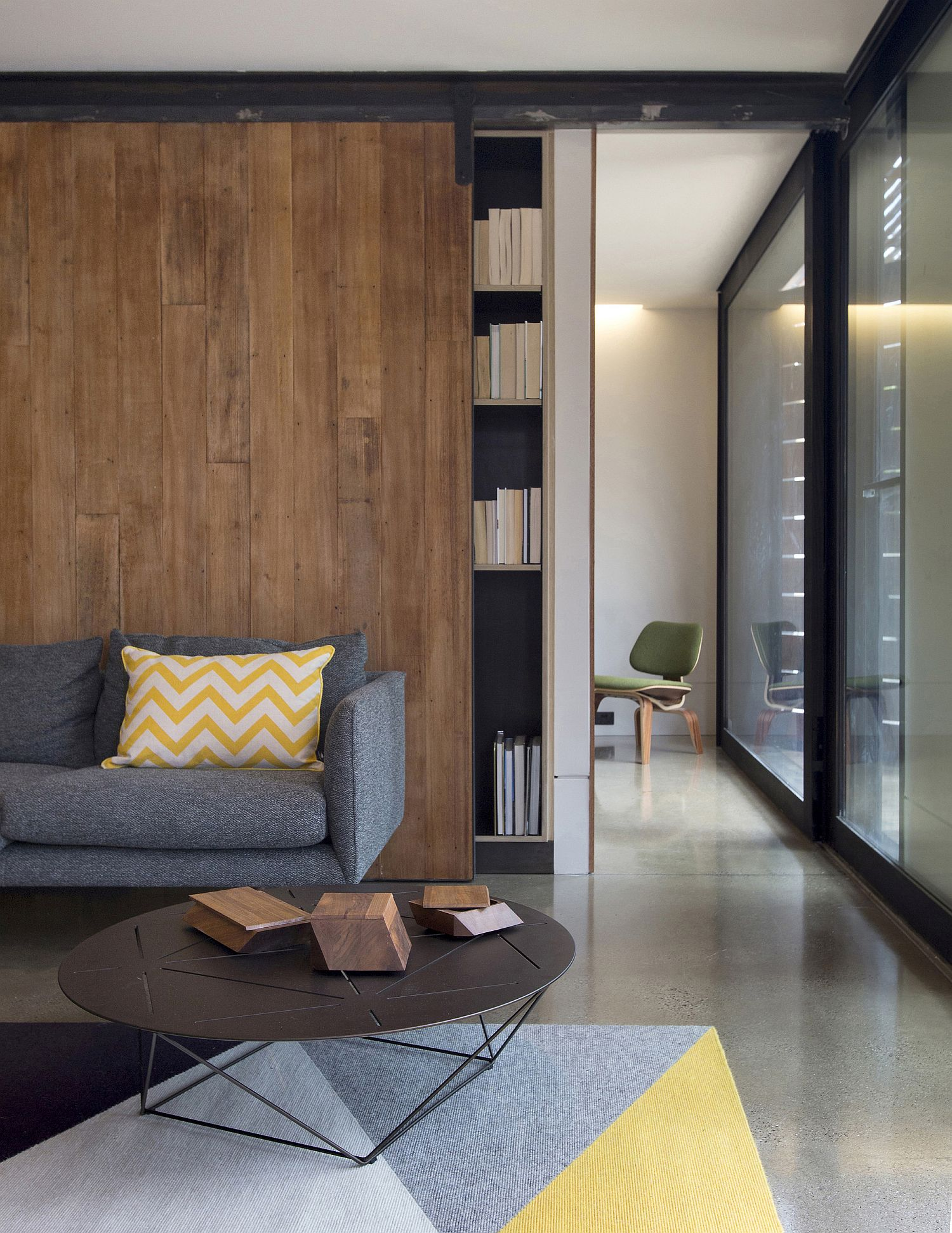Interior of the small, budget Northcote home with woodsy charm