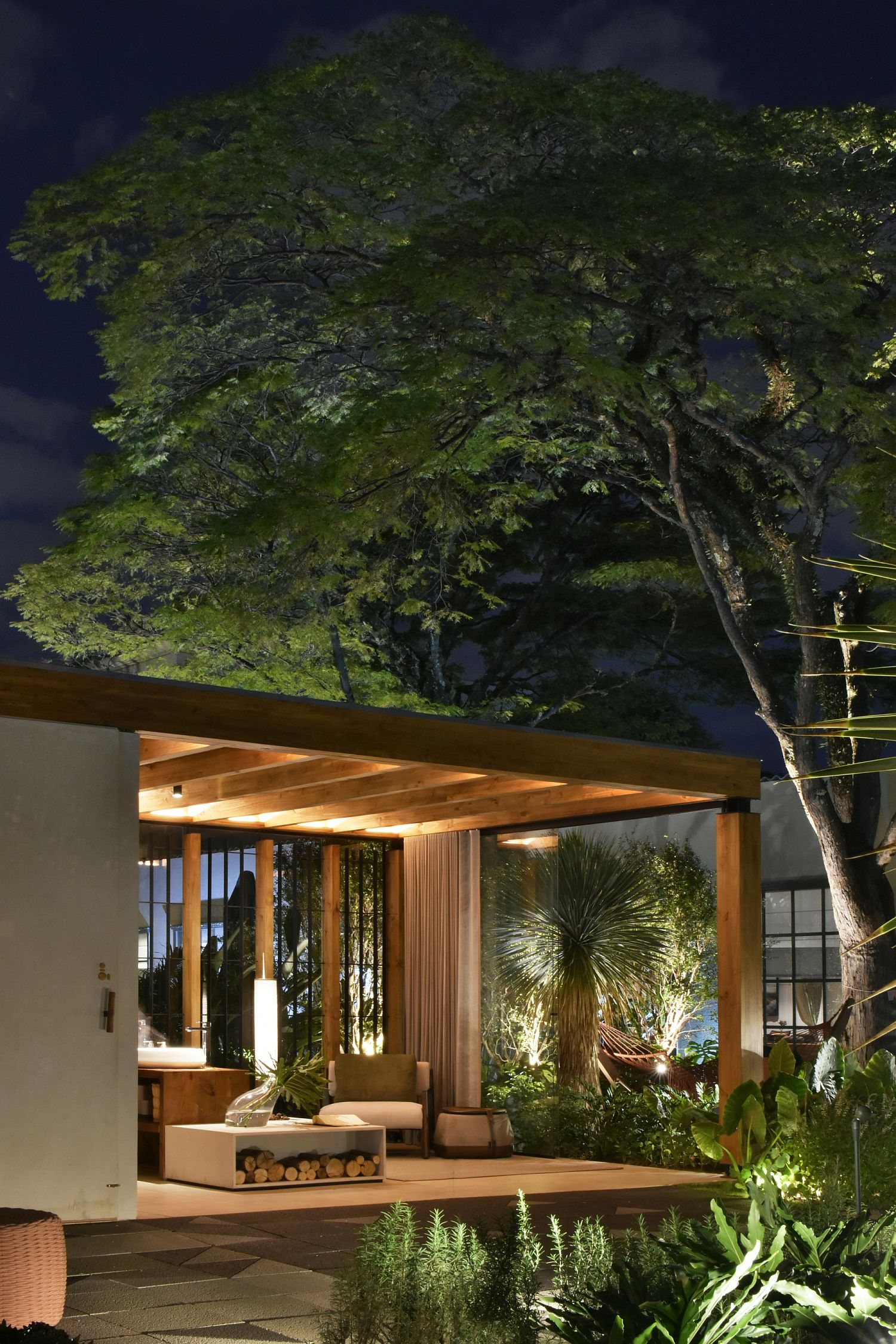 Lighting adds another layer of interest to the terrace